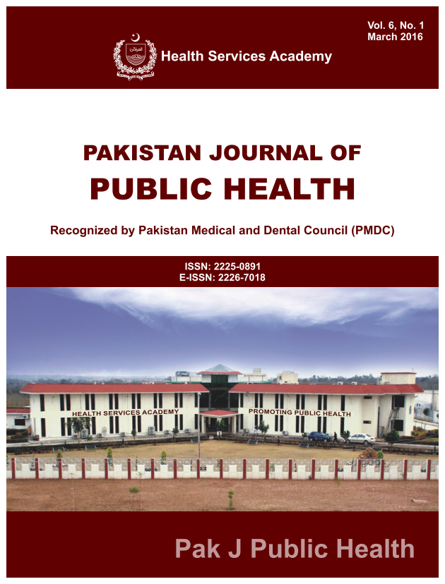 View Vol. 6 No. 1 (2016): Pakistan Journal of Public Health