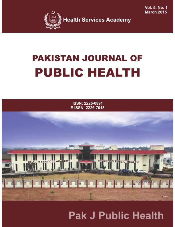 View Vol. 5 No. 1 (2015): Pakistan Journal of Public Health