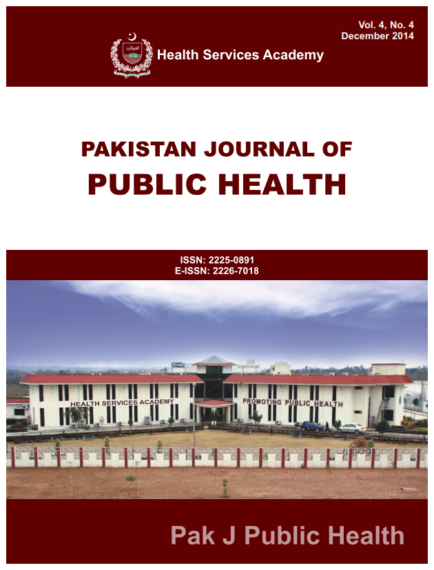 View Vol. 4 No. 4 (2014): Pakistan Journal of Public Health