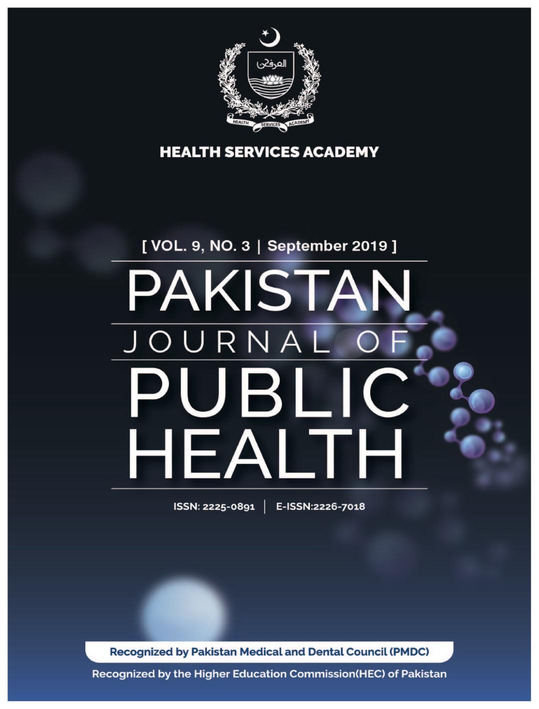 View Vol. 9 No. 3 (2019): Pakistan Journal of Public Health