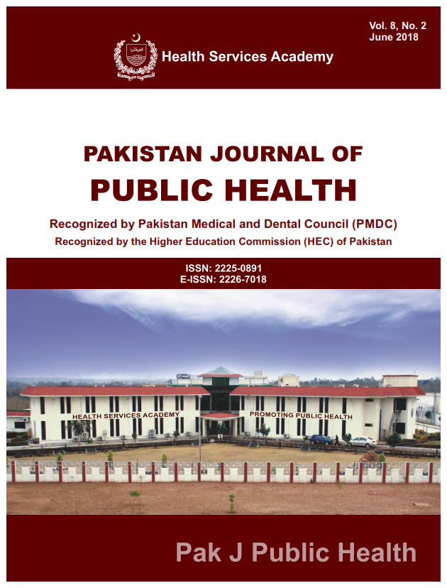 View Vol. 8 No. 2 (2018): Pakistan Journal of Public Health